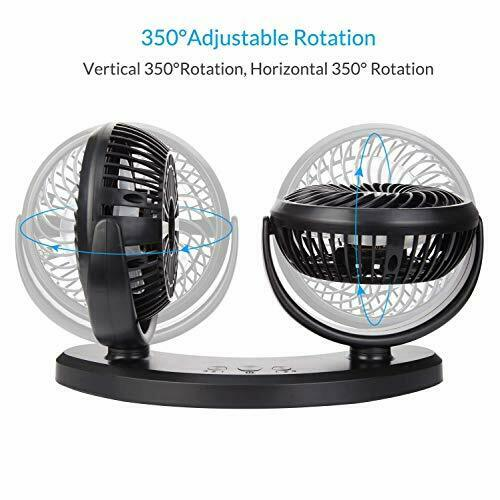 COMLIFE 360 Rotating Free Adjustment Dual Head Car Auto Cooling Air Fan with 3