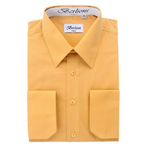 Berlioni-Italy-Men-039-s-Convertible-Cuff-Solid-Italian-French-Dress-Shirt-Mustard