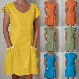 Women-Casual-Solid-Ruffled-Pockets-O-Neck-Shift-Daily-Wear-Cotton-Linen-Dress-UK
