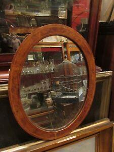 Ancien Miroir Medaillon Glace Ovale Vers 1930 Loupe De Tuyas Ht 46cm Attrayant Et Durable