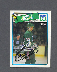 5e13ef78d Image is loading Carey-Wilson-signed-Whalers-1988-89-Topps-hockey-