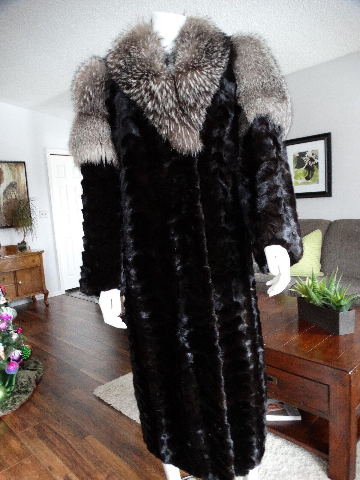 Luxurious Mink Mink Mink Paw & Indigo Fox Fur Coat Large e2ebc6