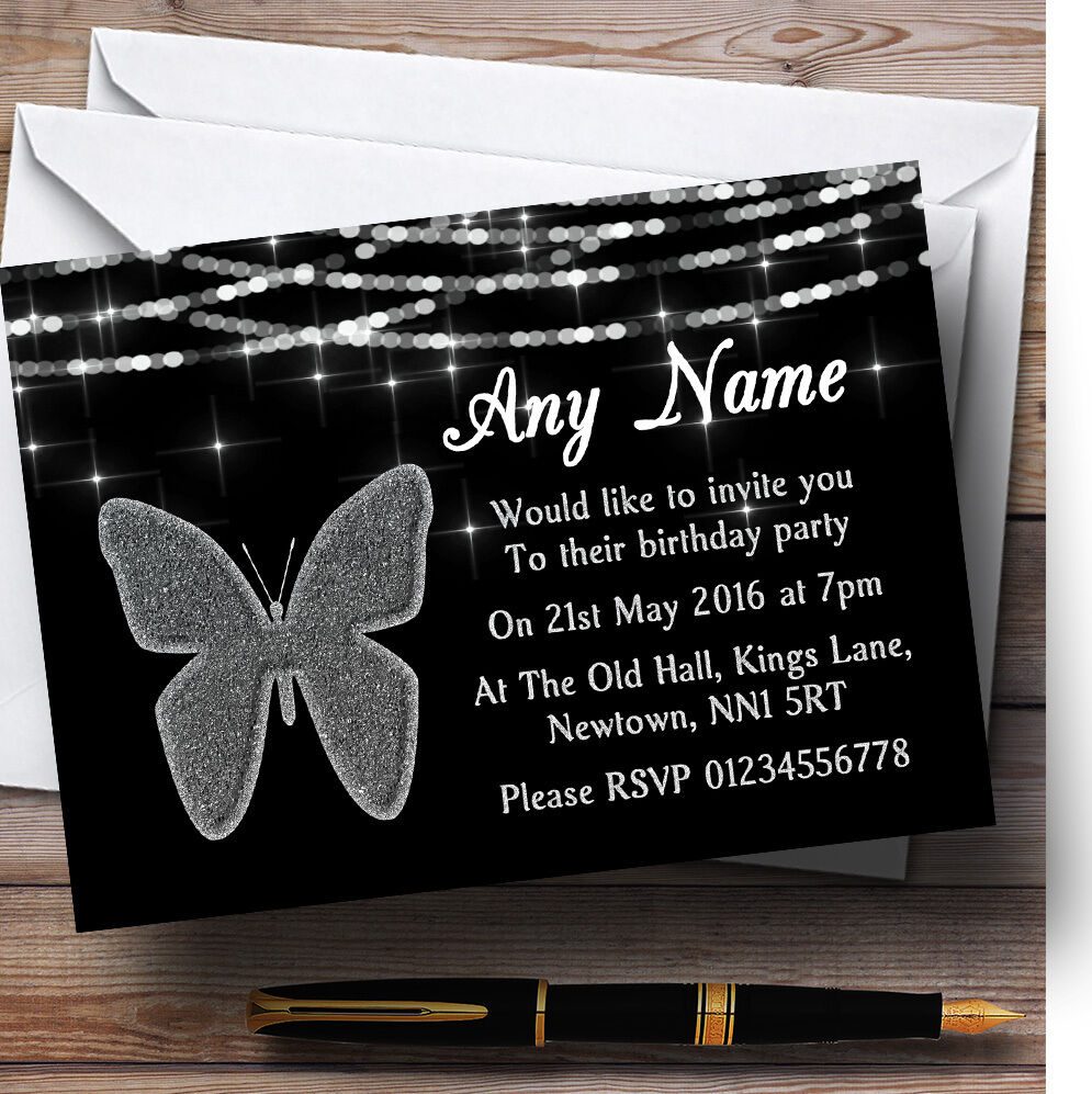 Destello de plata Mira Mariposa Fiesta De Cumpleaños Personalizadas Invitaciones