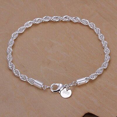 New Women 925 Sterling Silver Plated Twist Charm Chain Bangle Bracelets Jewelry