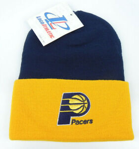 INDIANA-PACERS-NBA-VINTAGE-2-TONE-CUFFED-KNIT-RETRO-WINTER-BEANIE-CAP-HAT-NEW