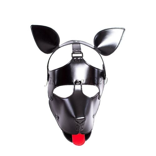 Microfiber Headgear Leather Dog Puppy Red Tongue Roleplay Hood Cosplay Mask Head