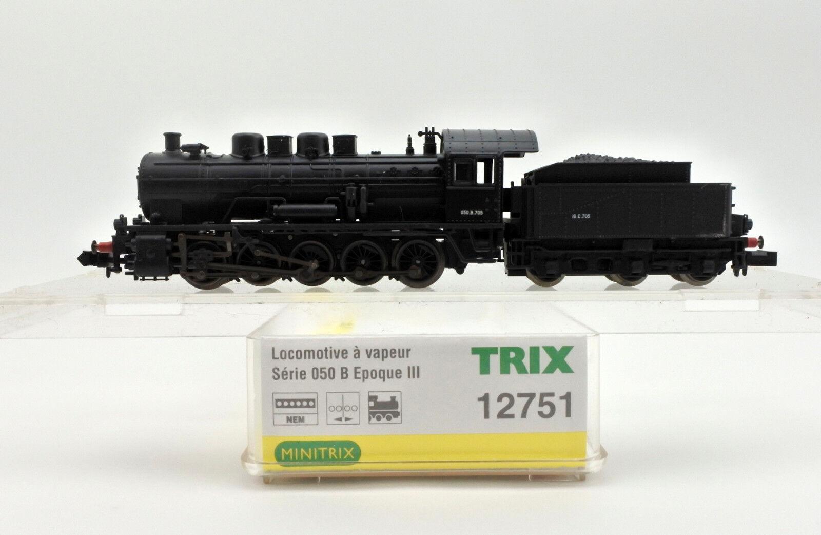 TRIX Scala N 12751 SNCF Marronee 050 0100 motore a vapore e tenero  B.705