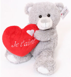 "16"" LARGE GREY TEDDY BEAR JE T'AIME VALENTINES DAY I LOVE YOU PLUSH GIFT FRENCH 5055988627362"