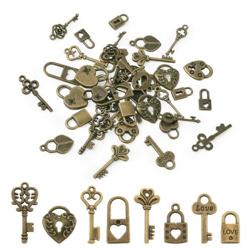 48pcs Antique Bronze Tibetan Alloy Key Pendants Nickel Free Metal Lock Charms