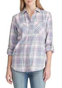 Lauren-Ralph-Lauren-Top-blouse-Plaid-Collar-Button-Up-Blue-XL-NEW-NWT-349