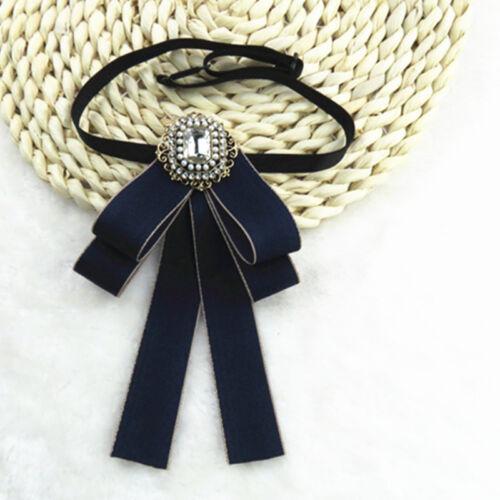 Retro Mens Women Wedding Clip On Neck Bow Tie Ribbon Rhinestone Necktie Brooch