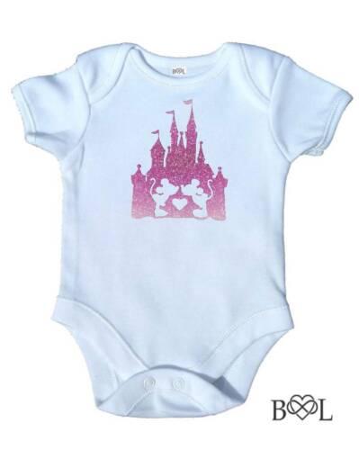 Baby Girls Disney Castle Mickey /& Minnie Babygrow Vest Bodysuit Present Gift