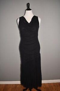 FUZZI-NEW-535-Tulle-Fringe-Sleeveless-Midi-Dress-in-Black-XL