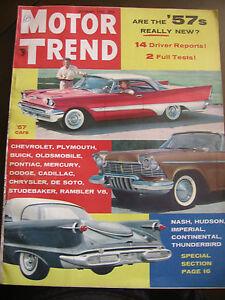 December 1956 Motor Trend Magazine Nash Hudson Thunderbird