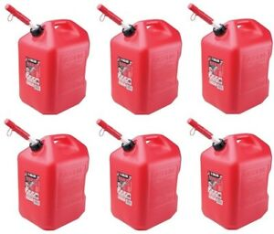 Plastic Gas Cans >> Details About 6 Midwest 6610 6 Gallon Red Plastic Gas Cans Containers W Spill Proof Spouts