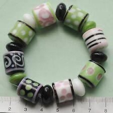16 x white, pink, green, black tubes lampwork / plain glass beads  43 g  117