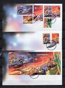 AUSTRALIE-ESPACE-2000-Serie-6-Tp-1-Bloc-2-adhesifs-sur-3-FDC