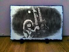 "002 Jimmy Page Led Zeppelin Sketch Art Portrait on Slate 8x6"" rare memorabilia"