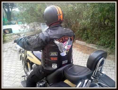 motorcycle leather vest eagle live to ride Big size for biker S ~ 7XL