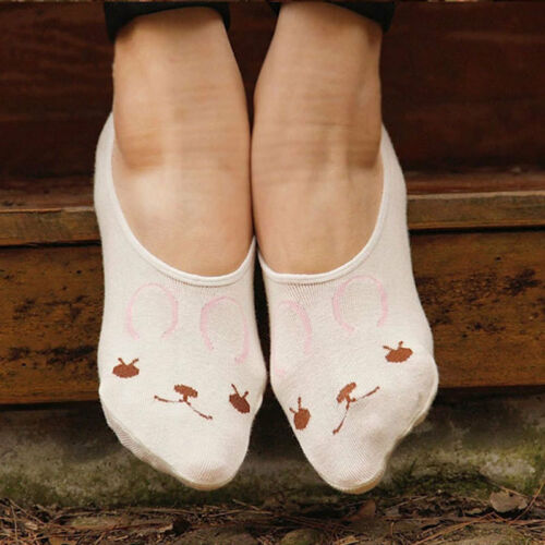 Women Girls Cute Animal Print Invisible Cotton Socks Nonslip Loafer Liner Low US