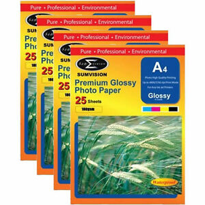 100-Sheets-Pack-Sumvision-A4-Premium-White-Glossy-180gsm-Inkjet-Photo-Paper