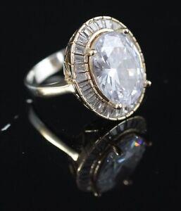 925-Sterling-Silber-Handgefertigt-Antik-tuerkische-Zirkon-Damen-Ring-Groesse-9-5