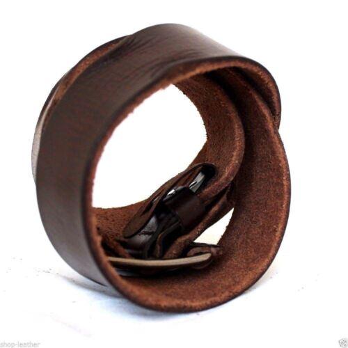 Véritable Plein Ceinture en cuir 43 mm Hommes Femmes Taille Fait Main Classique Marron Neuf Taille L