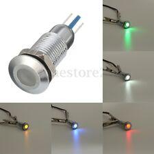 Metal 8mm LED Pilot Dash Panel Indicator Light Lamp Red Blue Green White Yellow