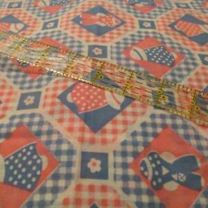 Vtg-70s-lightweight-cotton-fabric-apparel-Sunbonnet-Sue-PINK-BLUE-Cheater