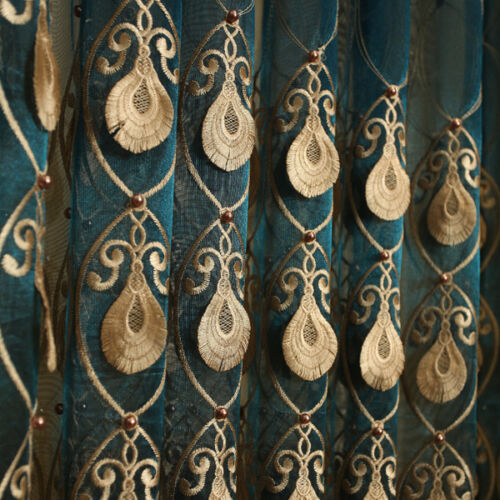 luxury embossed embroidery yarn Pearl peacock gauze tulle sheer curtain N017