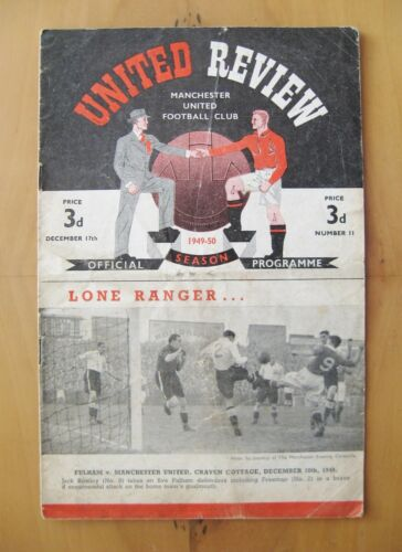 MANCHESTER UNITED v DERBY COUNTY 19491950 Good Condition Football Programme