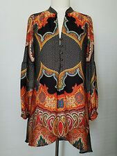 Ivy Jane casual print pattern blouse/tunic, mandarin collar-long sleeve -Xsmall