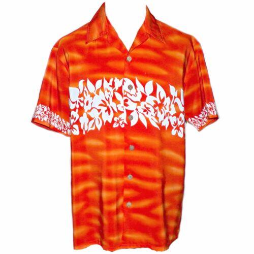 Kennington Orange Tye Dye Flame Hawaiian Floral Pr