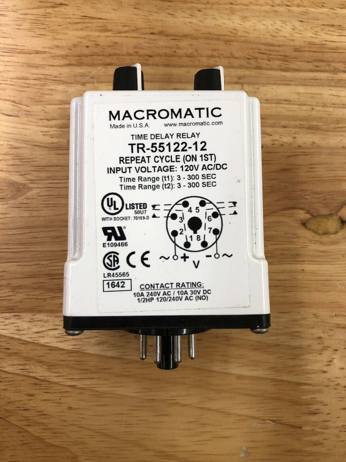 MACROMATIC TR-55122-05 Time Delay Relay,120VAC//DC,10A,DPDT