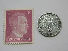 WW2 Artifact German Nazi Army Coin Third Reich Swastika + Hitler Stamp