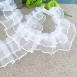 New-Pleated-Gathered-Mesh-Trim-Ruffled-Sewing-Lace-Ribbon-DIY-Craft-White-1yd