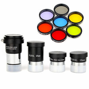 "1.25"" Plossl Telescope Eyepiece Sets+Moon Filter&CPL Filter&5 Color Filter+Lens"