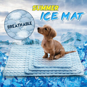 Pet-Dog-Cat-Ice-Self-Cooling-Silk-Mat-Cooler-Blue-Large-Non-Toxic-Puppy-Z