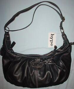 4e8a57e0d443 Image is loading Hype-Leather-Handbag-Shoulder-bag-Black-New-w-