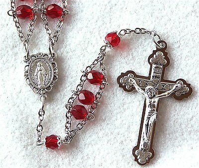 Ruby Red MIRACULOUS MEDAL Handcrafted Catholic Ladder Rosary