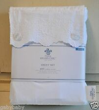 Rachel Ashwell Simply Shabby Chic Embroidered Lace QUEEN Sheet Set Beach Cottage