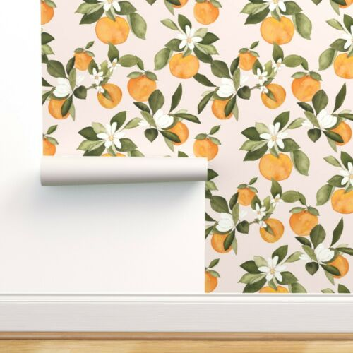 Wallpaper Roll Oranges Summer Fruit Kitchen Decor Citrus Spring 24in x 27ft