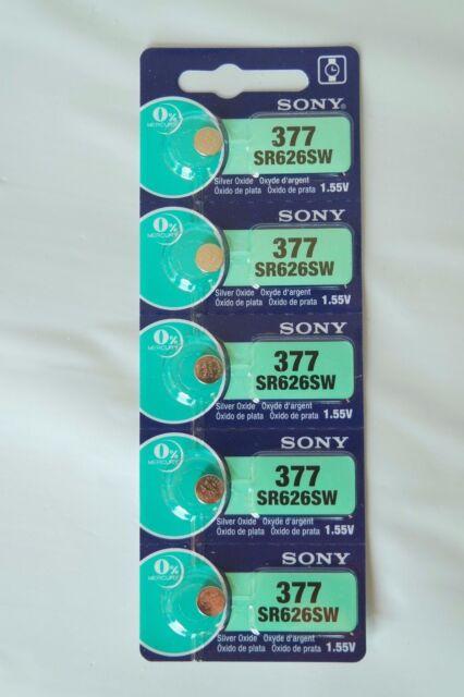 5x Sony / MuRata 377, SR626SW, AG4 Watch Battery 0% Mercury EXPIRE 02/2023