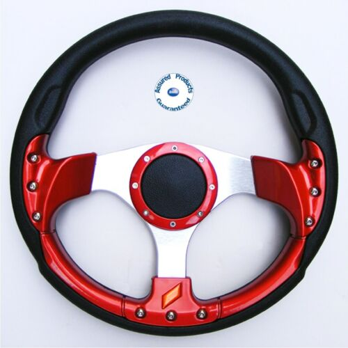 """NEW /""""GRAND PRIX SPORT/"""" DELUXE Sports Boat Steering Wheel RED BLACK and SILVER"""