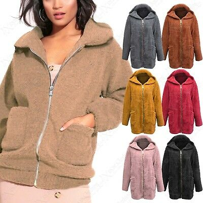 New Women Soft Teddy Fur Oversized Hoodie Ladies Pockets Warm Zip Front Jacket Hochwertige Materialien