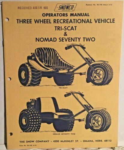 1972 Snowco Three Wheelers Operator/'s Manual /& Parts List Near Mint