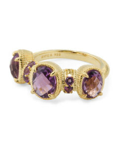 JUDITH-RIPKA-14k-Gold-Plated-Sterling-Silver-Amethyst-3-Stone-Ring-sz-8-New