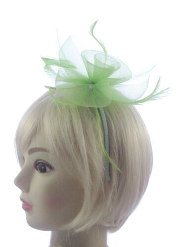 Ladies Day Races Pastel light green fascinator on a headband Weddings