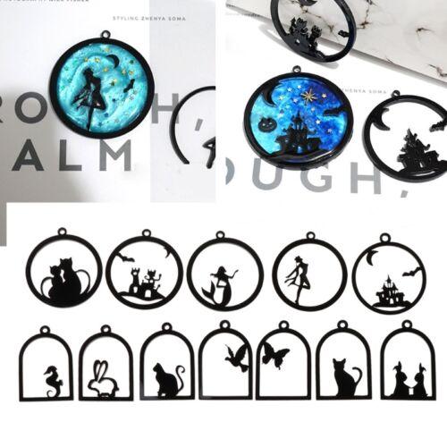12Pc Unique Acrylic Bezel Pendant UV Resin Hollow Black Frame DIY Charms Jewelry