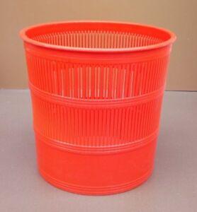 Poubelle-de-bureau-corbeille-a-papiers-CEP-orange-vintage-plastique-wastebasket